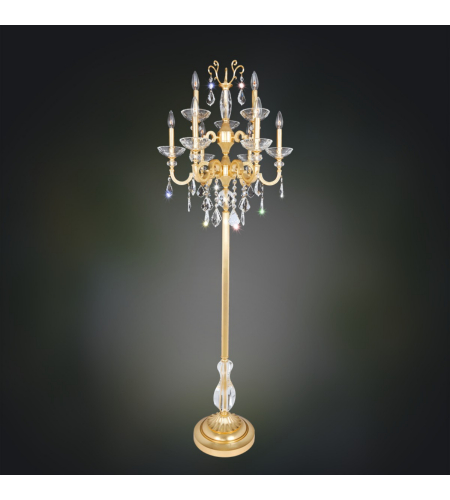 Allegri 025490-011-SE001 Barret 9 Light Floor Lamp in French Gold / 24k with Swarovski Elements Clear