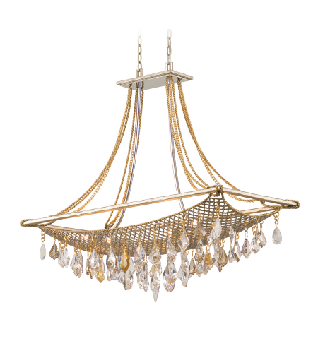 Corbett Lighting 125-58 Barcelona 8lt Island In Silver And Gold Leaf