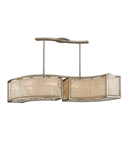 Corbett Lighting 131-56 6 Light Kyoto 6lt Island In Silver Leaf