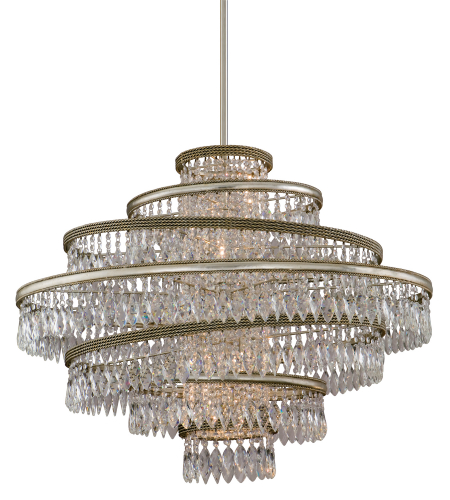Corbett Lighting 132-46 Diva 5lt Pendant In Silver Leaf W/Gold Leaf Accents