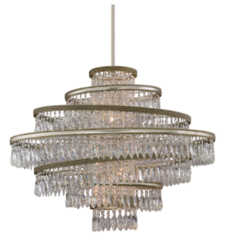 Corbett Lighting 132-47 Diva 7lt Pendant In Silver Leaf W/Gold Leaf Accents