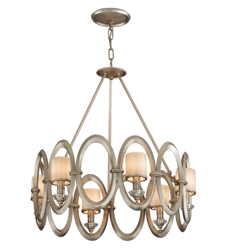 Corbett Lighting 134-46 6 Light Embrace 6lt Pendant In Satin Silver Leaf