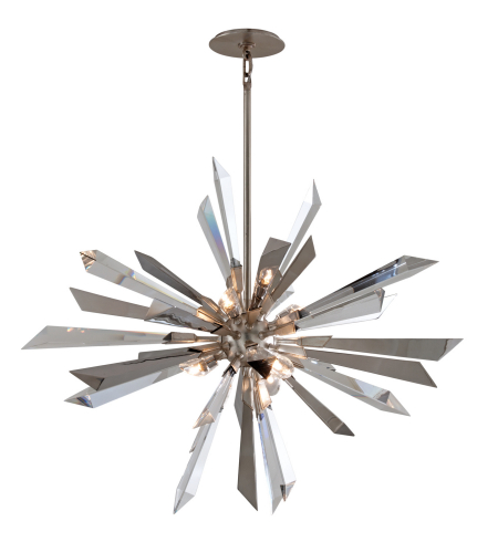 Corbett Lighting 140-47 6 Light Inertia 6lt Pendant In Silver Leaf