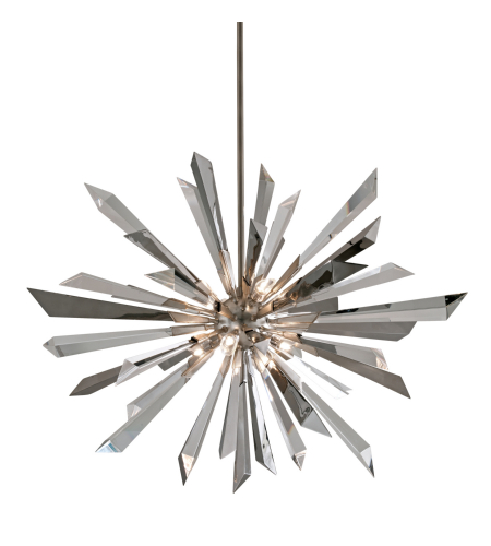 Corbett Lighting 140-48 8 Light Inertia 8lt Pendant In Silver Leaf