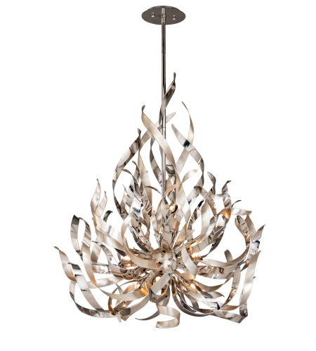 Corbett lighting 154 49 9 light graffiti 9lt pendant in silver leaf polish stainless