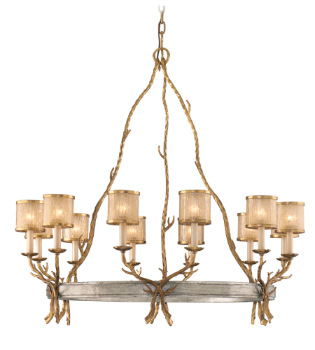 Corbett Lighting 66-012 Parc Royale 12lt Chandelier In Gold And Silver Leaf