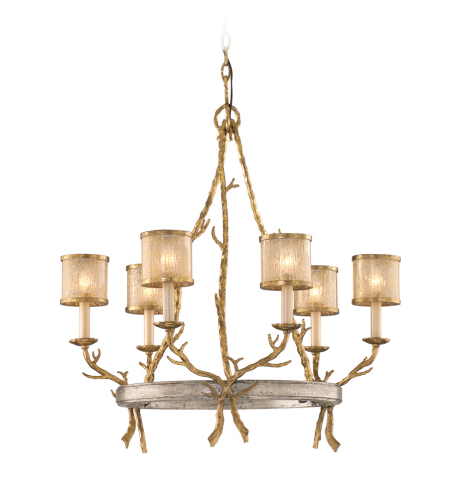 Corbett Lighting 66-06 Parc Royale 6lt Chandelier In Gold And Silver Leaf