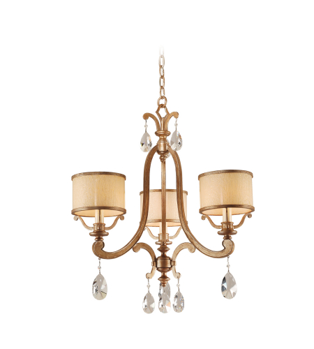 Corbett Lighting 71-03 3 Light Roma 3lt Chandelier In Antique Roman Silver