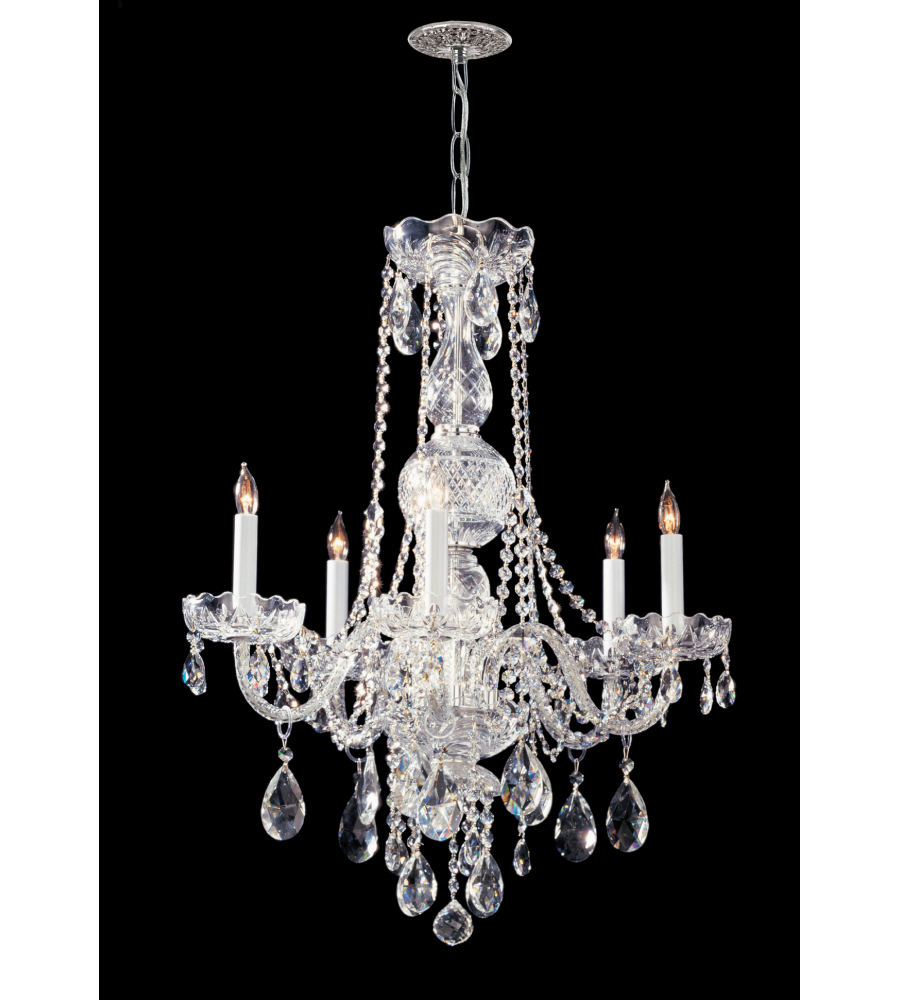 Crystorama 1115 ch cl saq traditional crystal 5 light chandelier in polished chrome - Traditional crystal chandeliers ...
