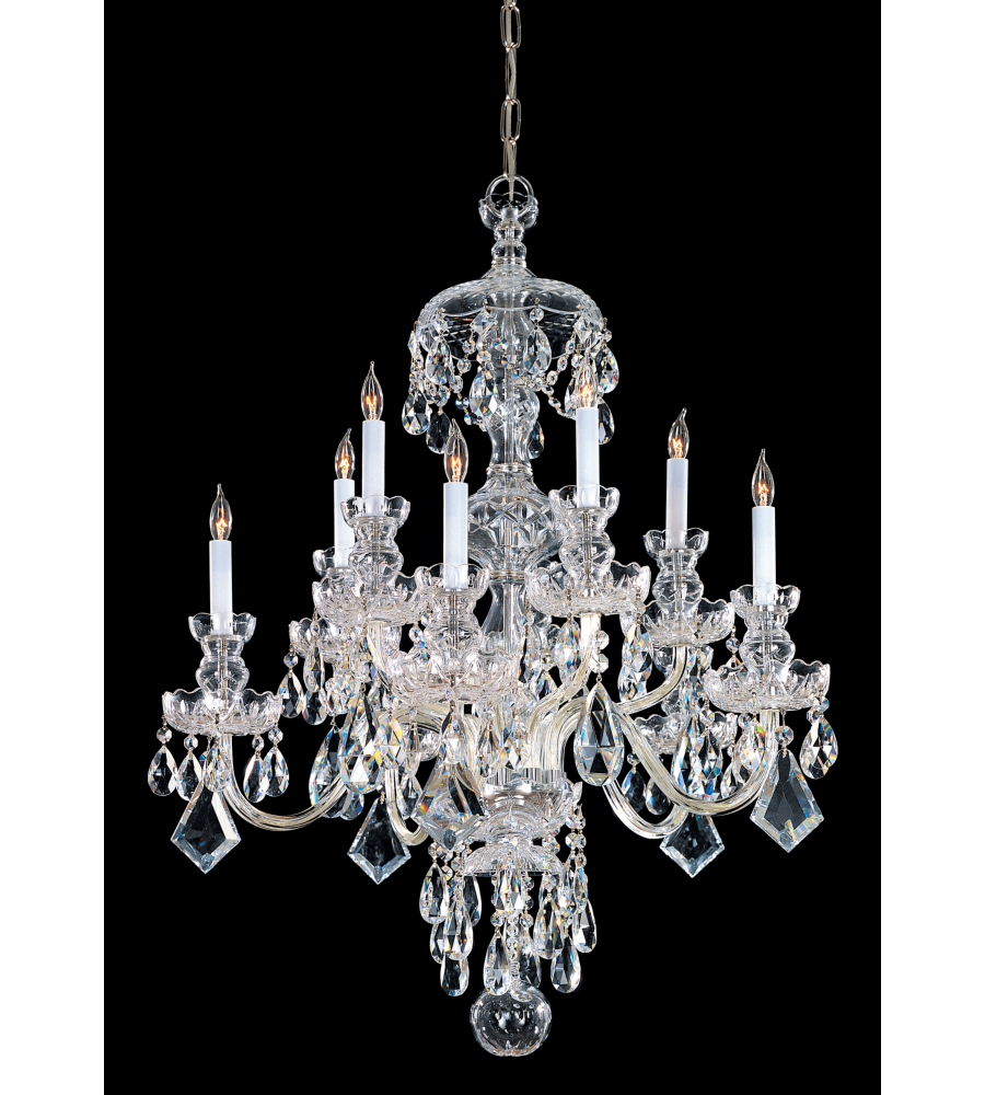 Crystorama 1140 pb cl saq traditional crystal 10 light chandelier in polished brass - Traditional crystal chandeliers ...