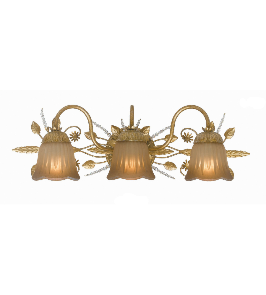 Vanity Lights Gold : Crystorama 4743-GL Primrose 3 Light Bathroom-Vanity Light in Gold Leaf FoundryLighting.com