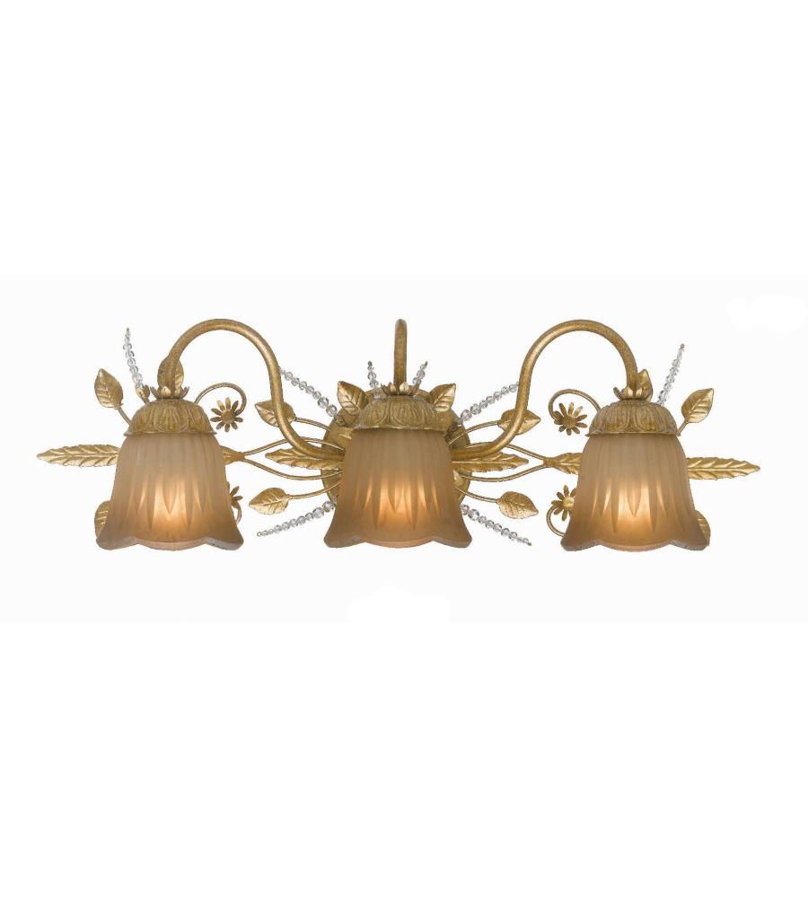 Crystorama 4743 Gl Primrose 3 Light Bathroom Vanity In Gold Leaf
