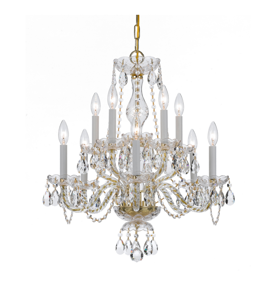 Crystorama 5080 pb cl s traditional crystal 10 light chandelier in polished brass - Traditional crystal chandeliers ...