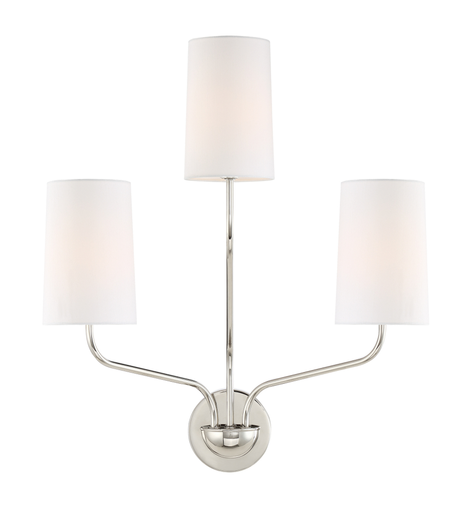 Crystorama LEI-203-PN Leigh 3 Light Sconce In Polished Nickel  sc 1 st  Foundry Lighting & Crystorama Lei-203-Pn Leigh 3 Light Sconce In Polished Nickel ...