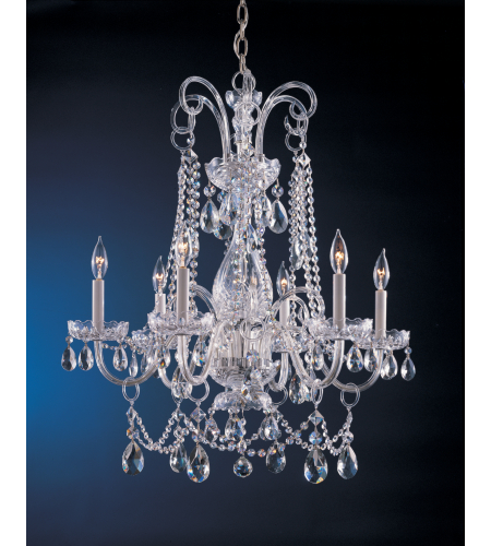 Crystorama 1030-CH-CL-SAQ Traditional Crystal 6 Light Chandelier in Polished Chrome