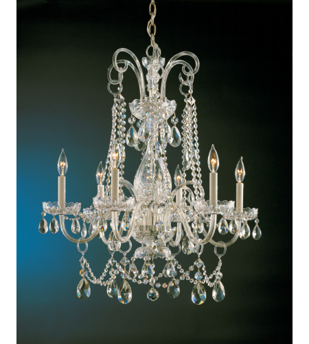 Crystorama 1030-PB-CL-S Traditional Crystal 6 Light Chandelier in Polished Brass
