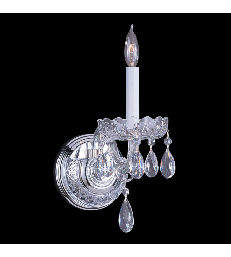 Crystorama 1031-CH-CL-MWP Traditional Crystal 1 Light Sconce in Polished Chrome