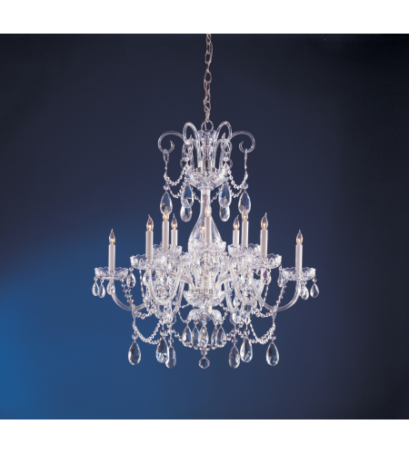 Crystorama 1035-CH-CL-SAQ Traditional Crystal 12 Light Chandelier in Polished Chrome