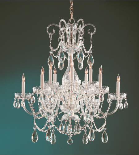 Crystorama 1035-PB-CL-SAQ Traditional Crystal 12 Light Chandelier in Polished Brass