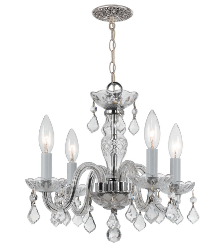 Crystorama 1064-CH-CL-I Traditional Crystal 4 Light Mini Chandeliers in Polished Chrome