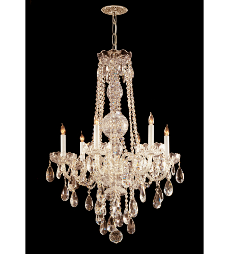 Crystorama 1106-PB-CL-MWP Traditional Crystal 6 Light Chandelier in Polished Brass