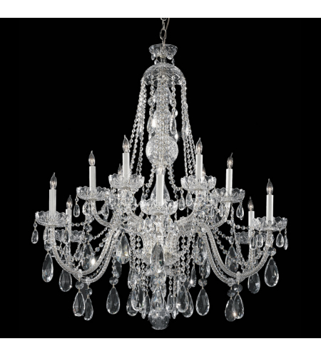 Crystorama 1114-CH-CL-SAQ Traditional Crystal 12 Light Chandelier in Polished Chrome