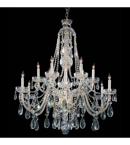 Crystorama 1114-PB-CL-SAQ Traditional Crystal 12 Light Chandelier in Polished Brass