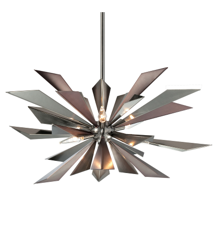 Crystorama 1529-MC Galaxy 7 Light Chandelier in Midnight Chrome