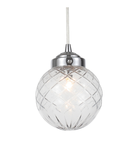 Crystorama 206-CH Essex 1 Light Pendant in Polished Chrome