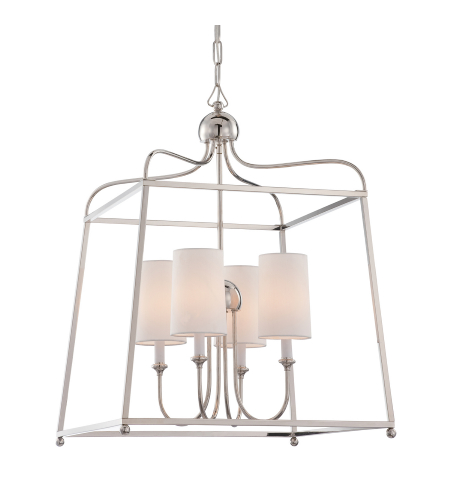 Crystorama 2244-PN Sylvan 4 Light Chandelier in Polished Nickel
