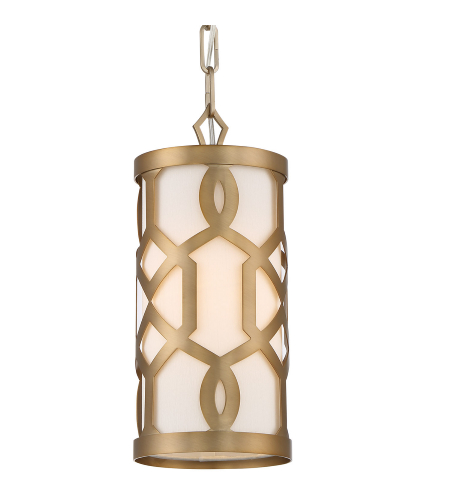 Crystorama 2260-AG Jennings 1 Light Pendant in Aged Brass