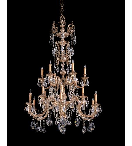 Crystorama 2718-OB-CL-MWP Palmer 18 Light Chandelier in Olde Brass