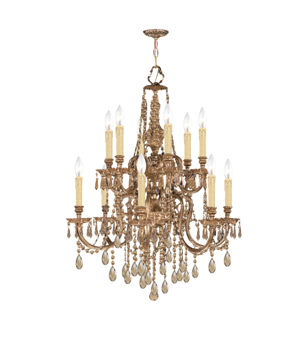 Crystorama 2812-OB-GT-MWP Novella 12 Light Chandelier in Olde Brass