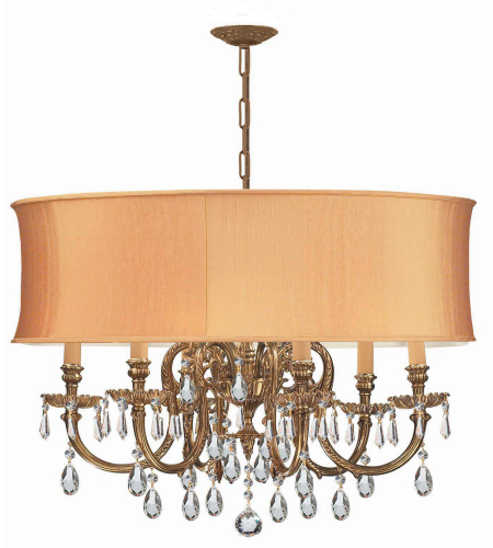 Crystorama 2916-OB-SHG-CLM Brentwood 6 Light Chandelier in Olde Brass