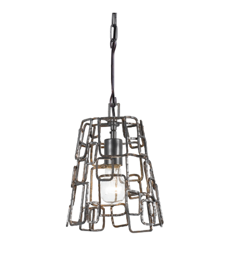 Crystorama 320-RS Lattice 1 Light Chandelier in Raw Steel