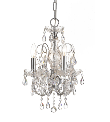 Crystorama 3224-CH-CL-SAQ Imperial 4 Light Mini Chandeliers in Polished Chrome