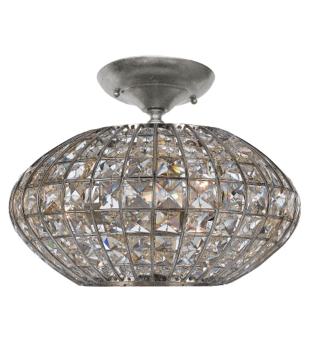 Crystorama 340-SA Solstice 3 Light Ceiling Mount in Antique Silver