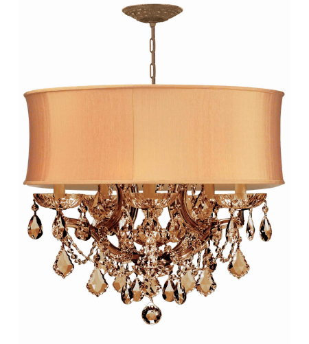 Crystorama 4415-AB-SHG-GTS Brentwood 6 Light Chandelier in Antique Brass