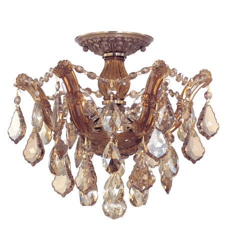 Crystorama 4430-AB-GTS Maria Theresa 6 Light Ceiling Mount in Antique Brass