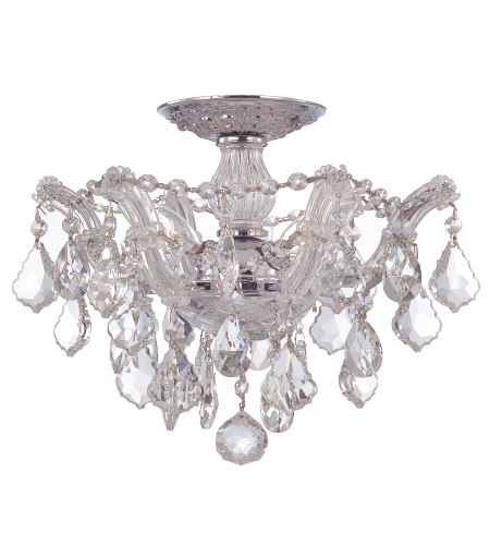 Crystorama 4430-CH-CL-S Maria Theresa 3 Light Ceiling Mount in Polished Chrome