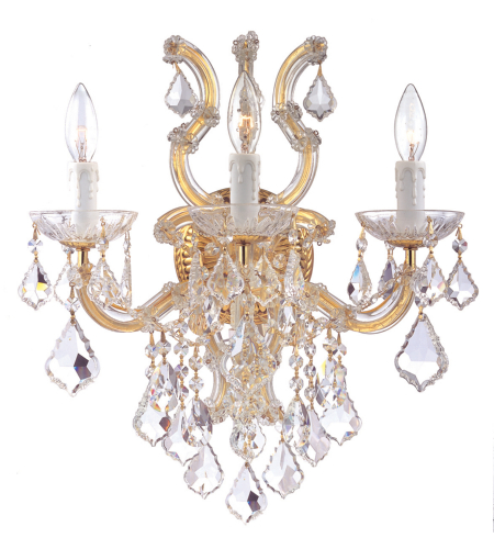 Crystorama 4433-GD-CL-SAQ Maria Theresa 6 Light Sconce in Gold
