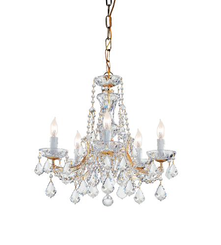 Crystorama 4476-GD-CL-SAQ Maria Theresa 5 Light Chandelier in Gold