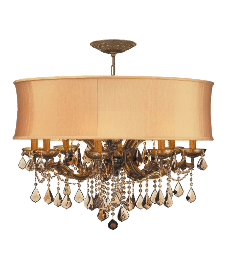 Crystorama 4489-AB-SHG-GTS Brentwood 12 Light Chandelier in Antique Brass