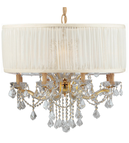 Crystorama 4489-GD-SAW-CLM Brentwood 12 Light Chandelier in Gold