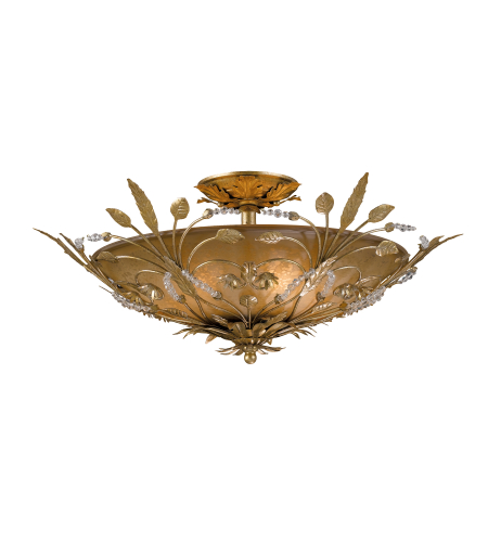 Crystorama 4704-Gl Primrose 6 Light Ceiling Mount In Gold Leaf