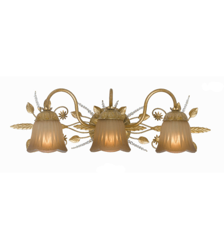 Crystorama 4743-GL Primrose 3 Light Bathroom-Vanity Light in Gold Leaf