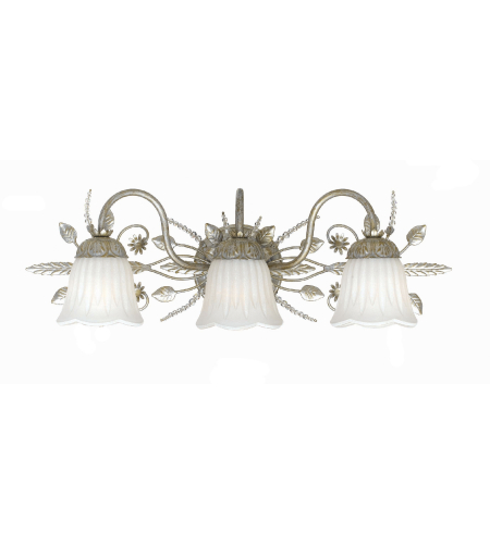 Crystorama 4743-SL Primrose 3 Light Bathroom-Vanity Light in Silver Leaf