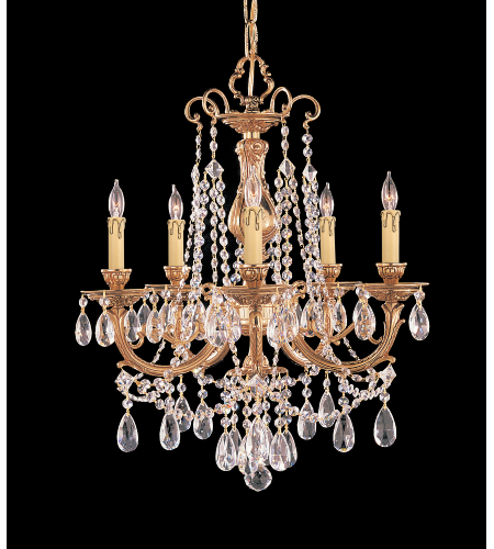 Crystorama 475-OB-CL-SAQ Etta 5 Light Chandelier in Olde Brass