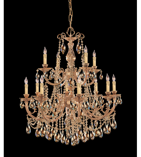 Crystorama 479-OB-GT-MWP Etta 12 Light Chandelier in Olde Brass