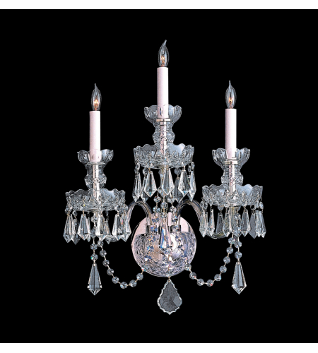 Crystorama 5023-CH-CL-S Traditional Crystal 3 Light Sconce in Polished Chrome
